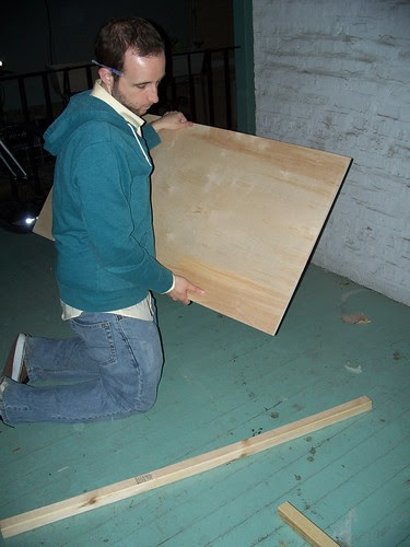 Chris working on the chalboard