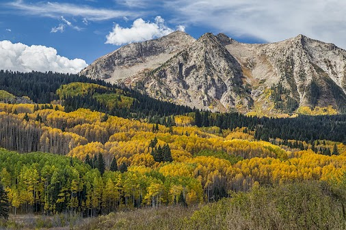 A beautiful scenic view of Rocky Mountains autumn season colors at it's best just west of Crested Butte...