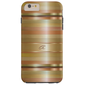 Metallic Gold And Copper Stripes Pattern Monogram Tough iPhone 6 Plus Case