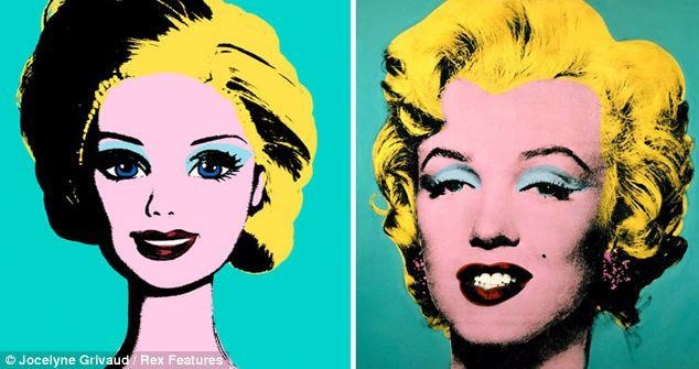 Pop Art: cabelo loiro da Barbie significa que ela pode facilmente se transformar em uma Marilyn Monroe olhar-a-como nesta versão do trabalho de Andy Warhol