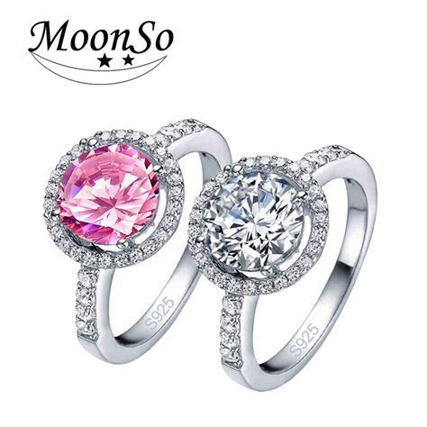 Moonso 925 Sterling Silver Sapphire Halo Rings Pink CZ