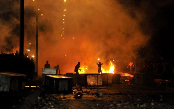 Demonstrators clashing with police in Antalya