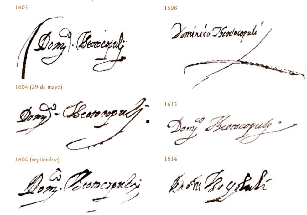 Evolución de las supuestas firmas de El Greco, según Juan Carlos Galende.
