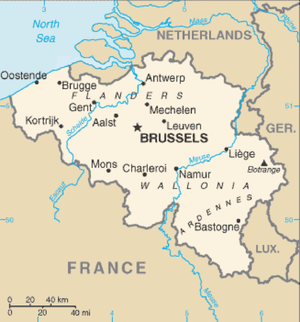 Main areas and places in Belgium