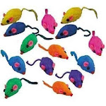 10 Rainbow Mice Cat Toys with Real Rabbit Fur That Rattle by Zanies