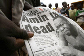 Idi Amin on the front pages of Uganda's press