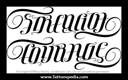 Strength Courage Ambigram Tattoo