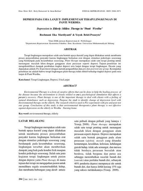 Depresi Pada Usia Lanjut: Implementasi Terapi Lingkungan