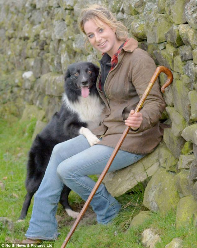 Shepherdess Emma Gray, 27, from Elsdon, Northumberland, who has become the first woman to win a sheepdog trial championship in its history