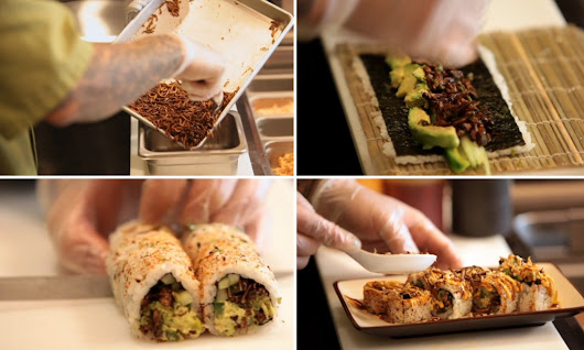 Texas chef creates sushi roll made of crickets and mealworms