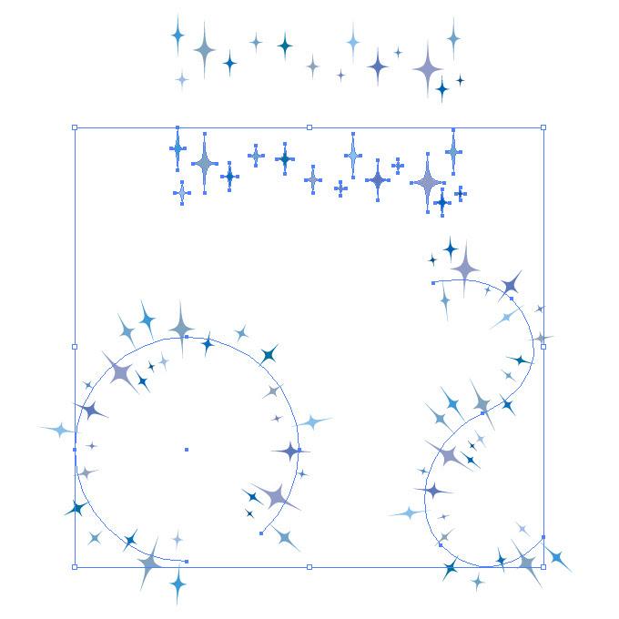 青色のキラキラしたイラストのイラレパターンブラシ イラレのブラシ