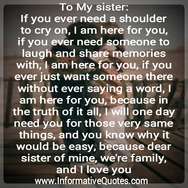 Dear Sister Were Family I Love You Informative Quotes