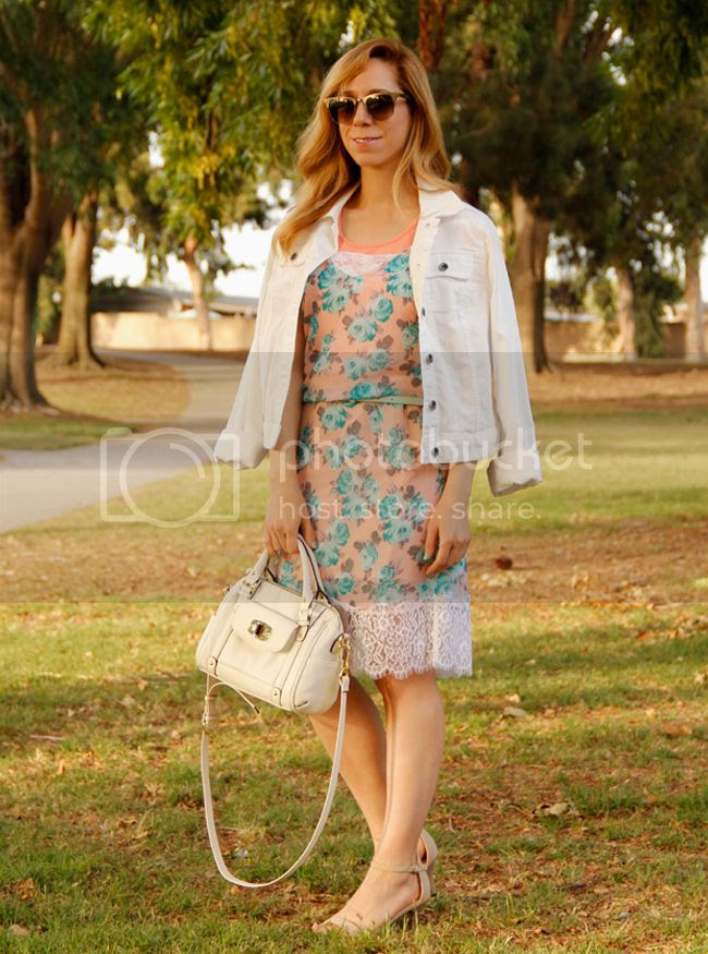 LA fashion blogger The Key To Chic wears Ray Ban Clubmaster sunglasses, Xhilaration floral slip dress with lace trim, Merona satchel, Target Mossimo mint green skull belt, and Merona denim jacket
