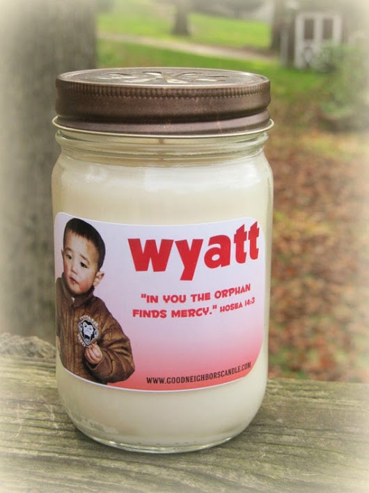 Wyatt Candle, Haines Family Fundraiser, 12 ounce Soy Candle, You choose from scent and color, Adoption