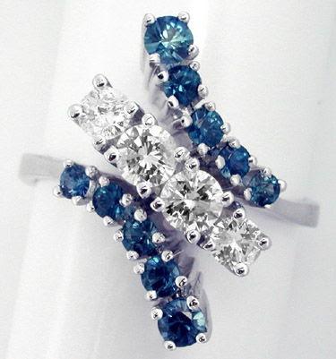 Foto 2, Traum-Safir-Brillant-Ring, 18K/750 Weissgold Luxus! Neu, S7306