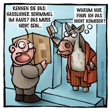 Vertreter Schimmel verkaufen häßlich Bademantel Haus Pferdewitz Zähne putzen Cartoon Cartoons Witze witzig witzige lustige Bilder Bilderwitz Bilderwitze Comic Zeichnungen lustig Karikatur Karikaturen Illustrationen Michael Mantel lachhaft Spaß Humor Witz