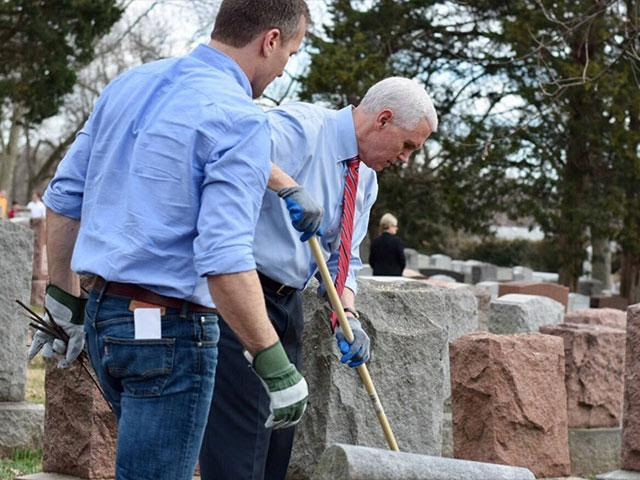 Vice President Mike Pence at Chesed Shel Emet cemetery, Courtesy Facebook