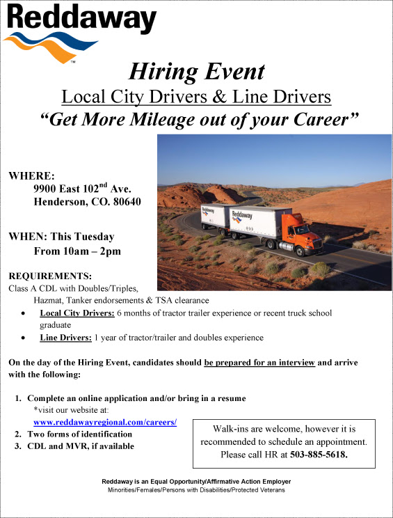 Hiring Event Local City and Line Drivers CO