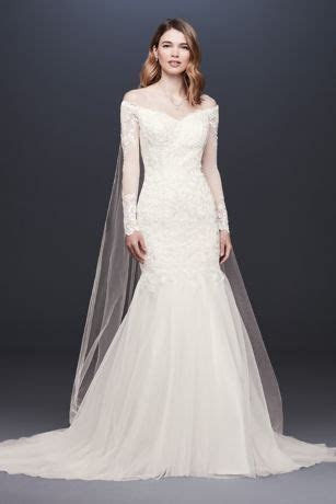 Long Sleeve Off the Shoulder Trumpet Wedding Dress   David