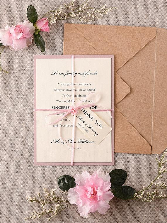Wedding Thank You Card Rustic Thank You Cards Pink Wedding Thank