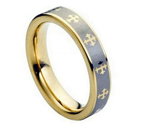 5mm Men's or Ladies Tungsten carbide Gold Celtic Cross