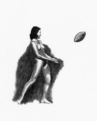 Campello drawing of Female Nude Catching a Football