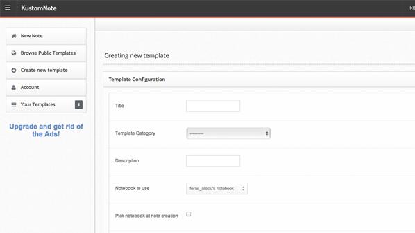 يسمح للمستخدم بإنشاء قوالب أو اختيار قوالب جاهزة من أجل كتابة الملاحظات