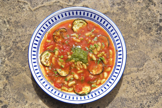 Tomato and Roasted Zucchini Summer Soup with Basil Pistou