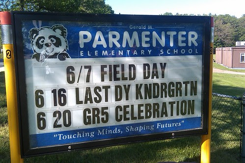 Parmenter sign: end of school year events