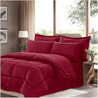 Sweethome Collection Hotel Dobby Embossed Bedding Set, Dark Red, King