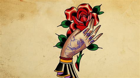 draw hand holding rose tattoo style youtube