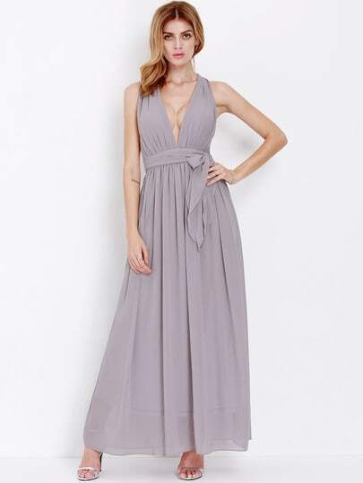 Light Purple Deep V Neck Maxi Dress pictures