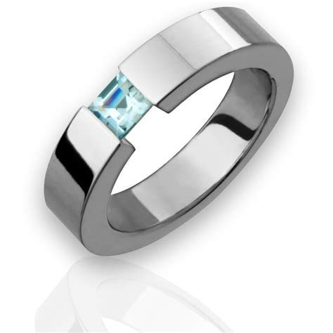 New 5mm Mens Titanium Ring Aquamarine Tension Set Wedding