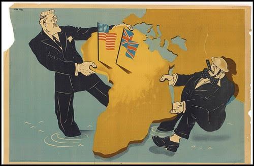 Roosevelt et Churchill se disputent l'Afrique - guerre propagande - relations internationales
