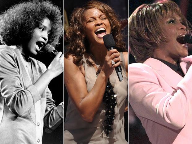 A cantora Whitney Houston em diversas fases da carreira (Foto: AP)