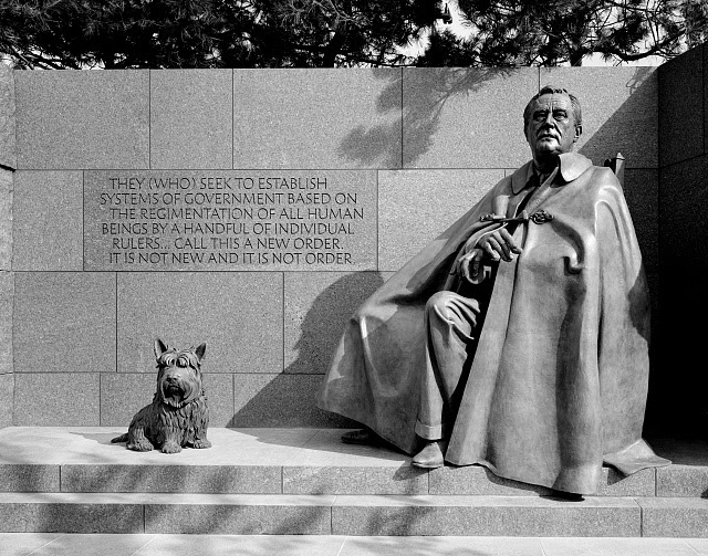 Statues of Franklin Delano Roosevelt (in his wheelchair) and his dog Fala at the Franklin Delano Roosevelt Memorial, Washington, D.C.
