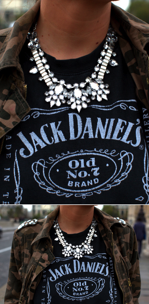 LE FASHION BLOG BE FRASSY JEWELED STUDDEDCAMO JACKET CHUNKY JEWELED NECKLACE VINTAGE JACK DANIELS TEE TSHIRT