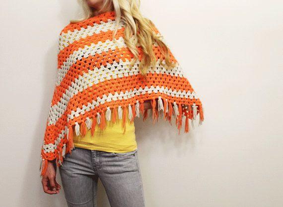 Womens Crochet Poncho/ 1970s clothing/ Orange/ by URTHYCHURCHYPPL, $25.00