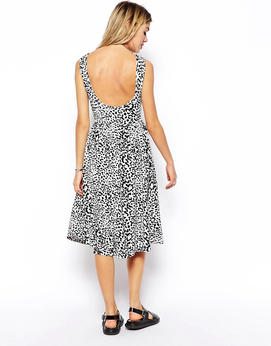 Image 2 of ASOS Midi Dress with Scoop Back in Animal Print