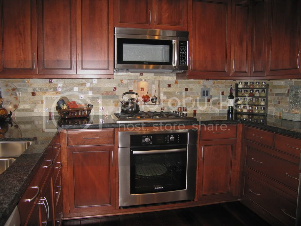 Marble Tumbled Mosaic Backsplash Kitchen Pictures
