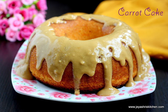 Carrot cake with toffee sauce