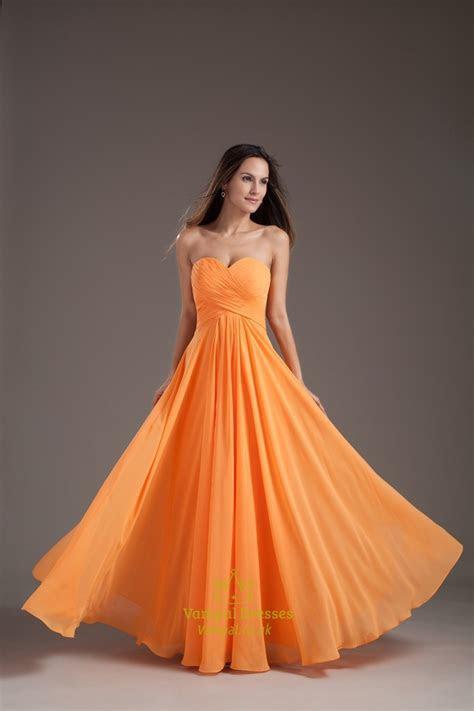 Gorgeous Orange Sweetheart Strapless Ruffles Long Summer