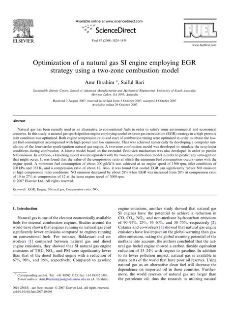 (PDF) Optimization of a natural gas SI engine employing