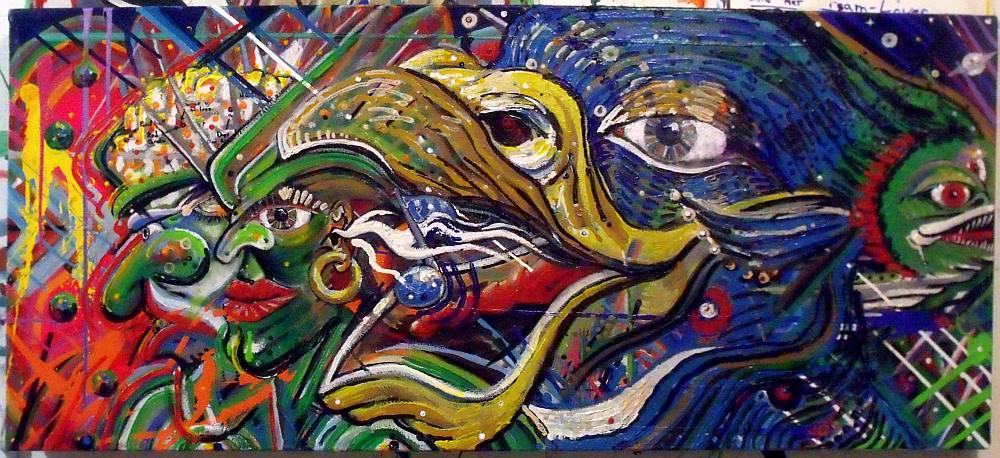 Interdimensional Mallard and the Mystical Piranha-Crappie-Halibut Hybrid. Acrylic on canvas; Broken Vulture Art, BingoRage Studio.