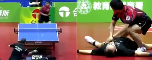 Surely the most hilarious and bizarre table tennis match ever