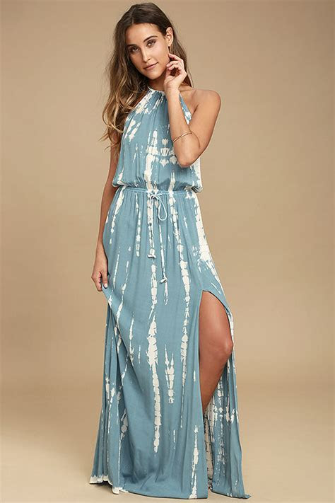 Lovely Blue and White Dress   Tie Dye Dress   Maxi Dress