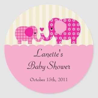 Mom and Baby Girl Elephant Favor Sticker sticker
