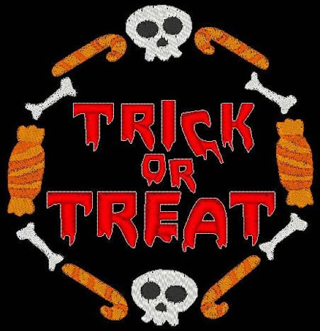 Trick or Treat Embroidery Design instant download spooky