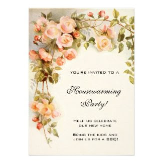 Vintage Housewarming, Antique Pink Rose Flowers Custom Invites