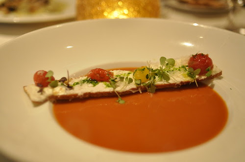 Heirloom tomato soup with creamy goat cheese panini